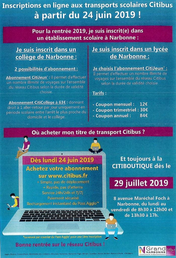 INSCRIPTION BUS SCOLAIRE CITIBUS Grand Narbonne